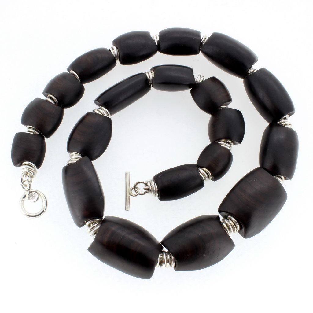 African blackwood and silver necklace