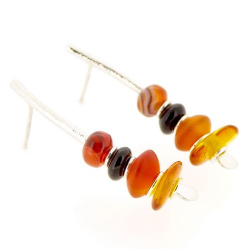 Carnelian earrings sterling silver with back onyx & amber curved medium arc shape