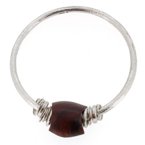 Cocobolo wooden bead bangle sterling silver designer jewellery