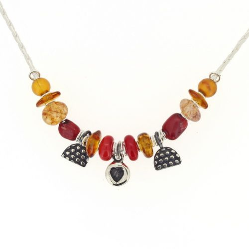 Heart necklace, amber beads & Red gemstones. our no.4