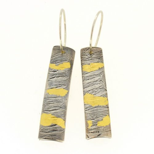 Keum boo earrings razor shell textured silver and gold, small