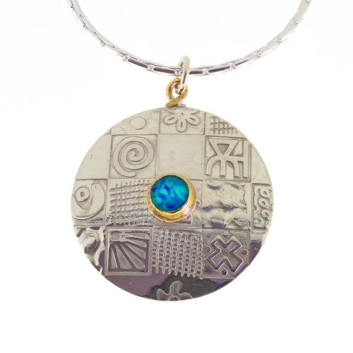Large Round silver contemporary opal pendant