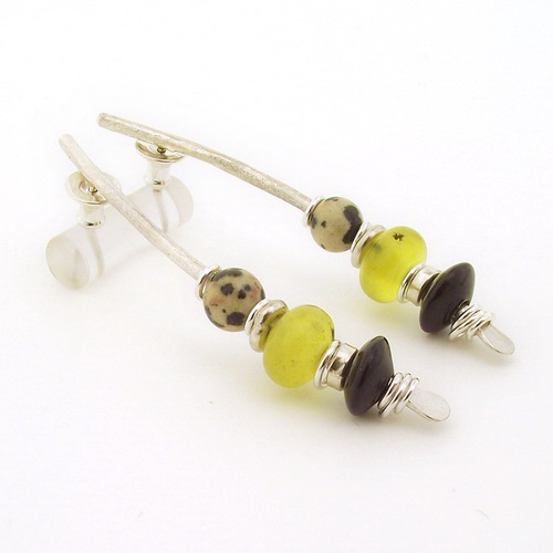 Oil jade earrings silver with black onyx stones large arc shape