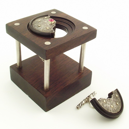 One off treen cufflinks with Garnet and wooden stand