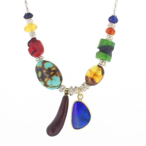 opal necklace, turquoise, carnelian & amber beads  by John Field