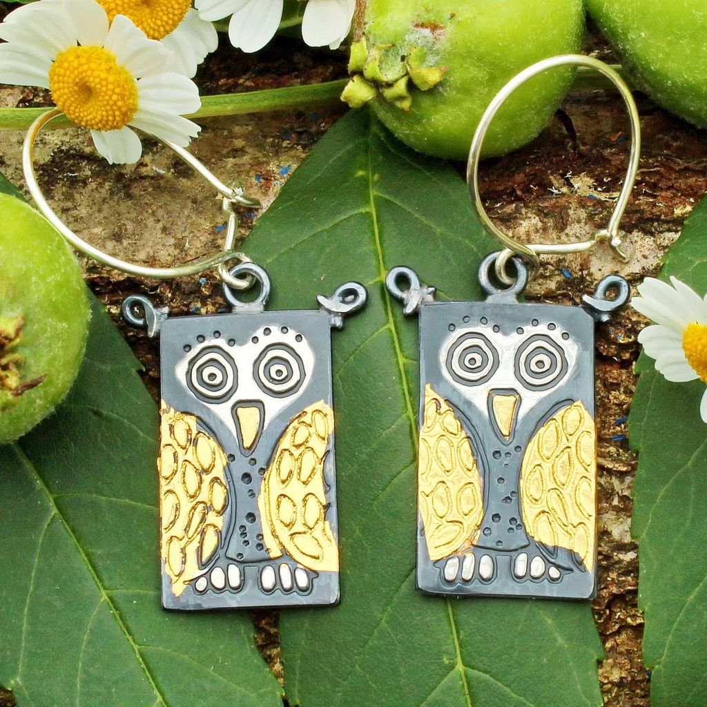Owl earrings handmade keum boo bird design silver and gold
