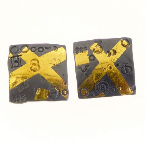 Oxidised keum boo square ear studs silver with gold cross