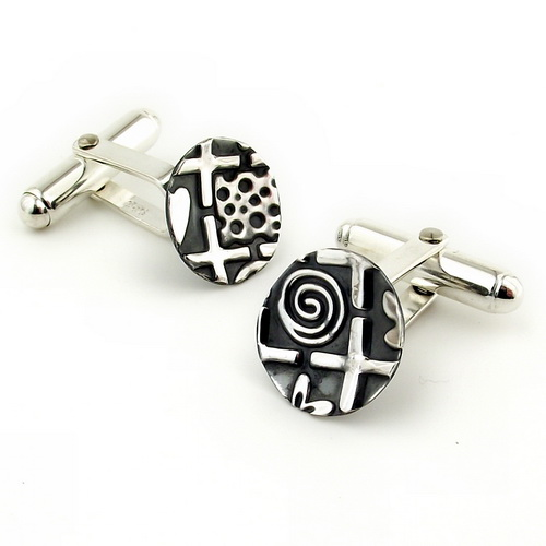 Oxidised silver cufflinks