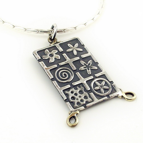 Oxidised Silver Rectangle pendant