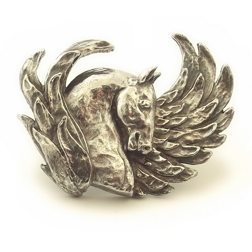Pegasus horse brooch sculptural design sterling silver