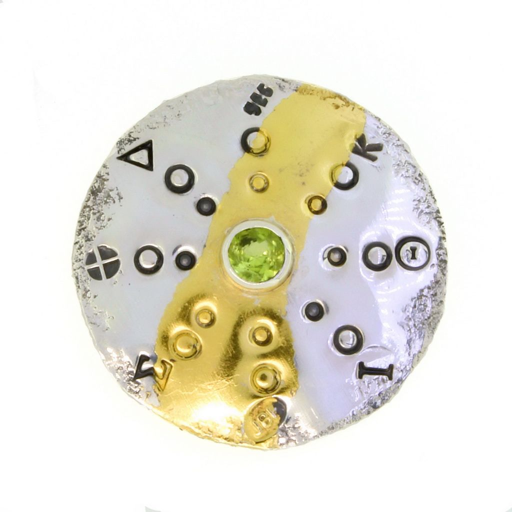 Peridot gemstone brooch unique handmade round silver and gold