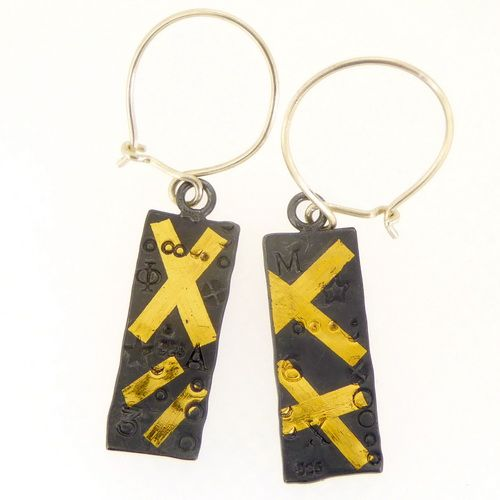 Rectangular earrings handmade keum boo oxidised silver with gold crosses