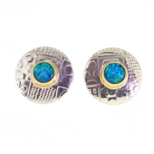 Round ear studs, sterling silver and gemstones, 16 mm diameter