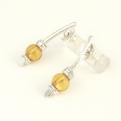 Small Arc Earrings - Amber
