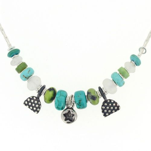 Star necklace, green, blue, turquoise gemstone beads. Our no.5