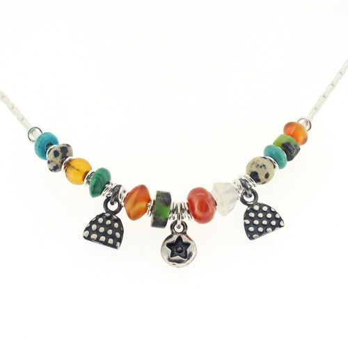 Star necklace, multi coloured gemstone beads our no.1