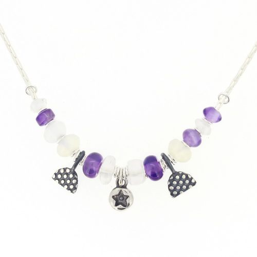 Star necklace, purple gemstone beads, opalite, amethyst. No.3