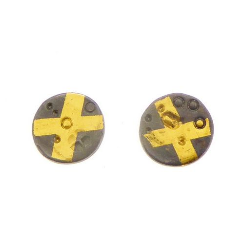 Tiny ear studs keum boo gold cross oxidised silver small