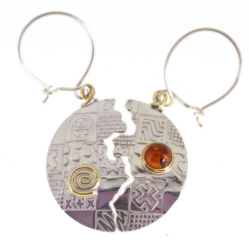 unique earrings, round halved sterling silver with an Amber stone